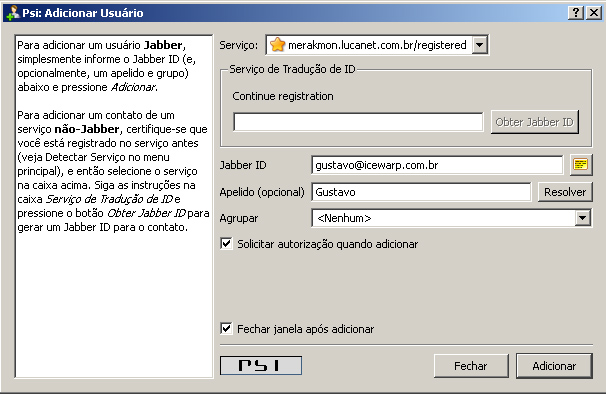 PSI - Add contact dialog